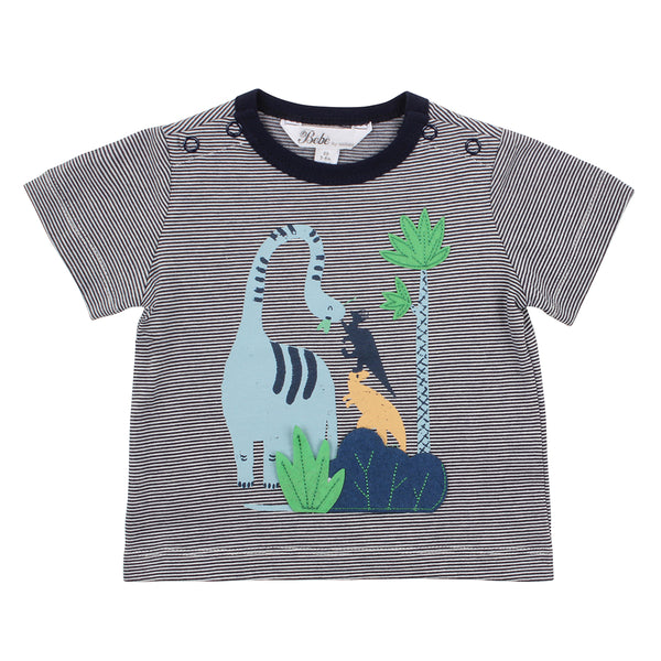 Bebe Ethan Dino Stripe T-Shirt in Navy