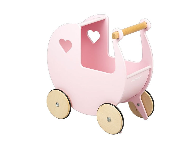 Moover Dolls Pram Pink with Natural Wheels