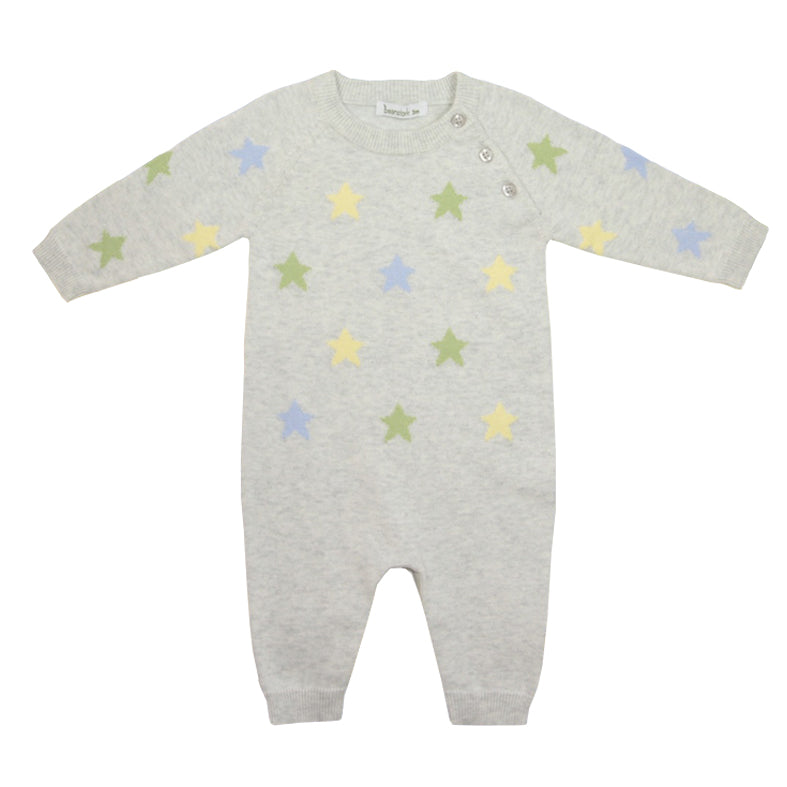 Beanstork Soft Star Romper in cotton knit