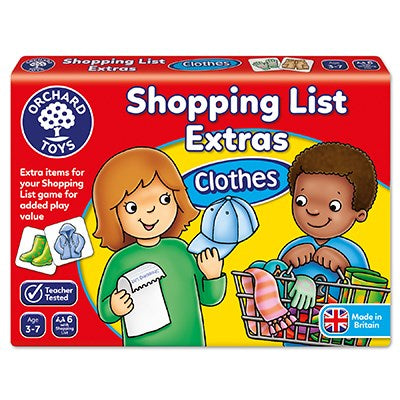 Orchard games shopping list extras Clothes