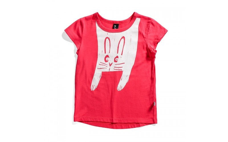 Minti bunny coral short sleeve t-shirt in orange cotton laying on a flat background