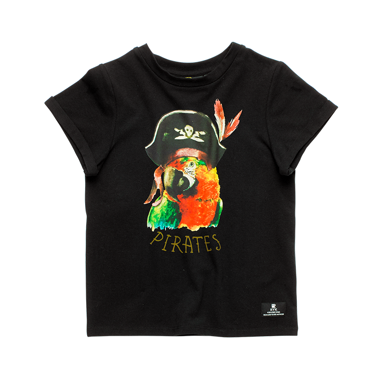 Rock Your baby pirate parrot s/s t-shirt in Black