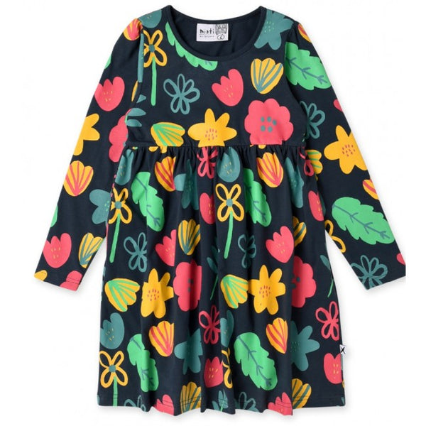 Minti long sleeve winter foliage girls dress in forest green