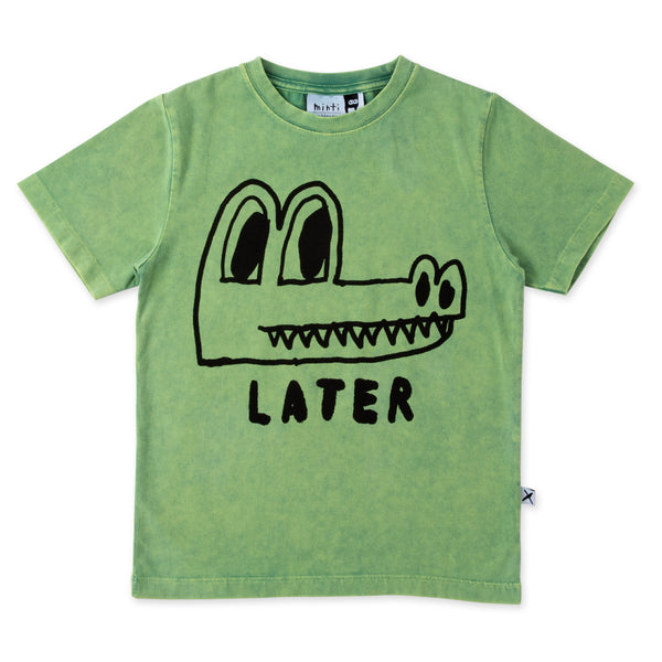 Minti Later Alligator S/Sleeve tee turf wash in green