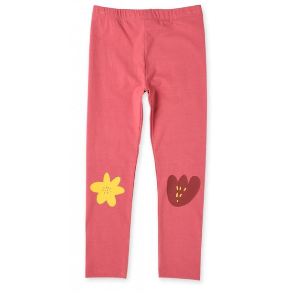 minti girls flower leggings and tights in rose pink cotton stretch MNT164-W20-FL-RO
