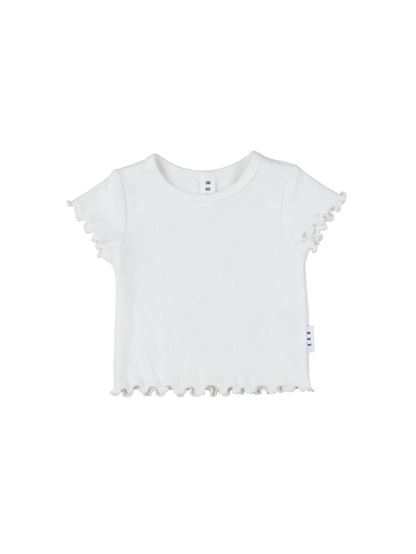 Huxbaby Rib T-Shirt with lettuce edge in off white