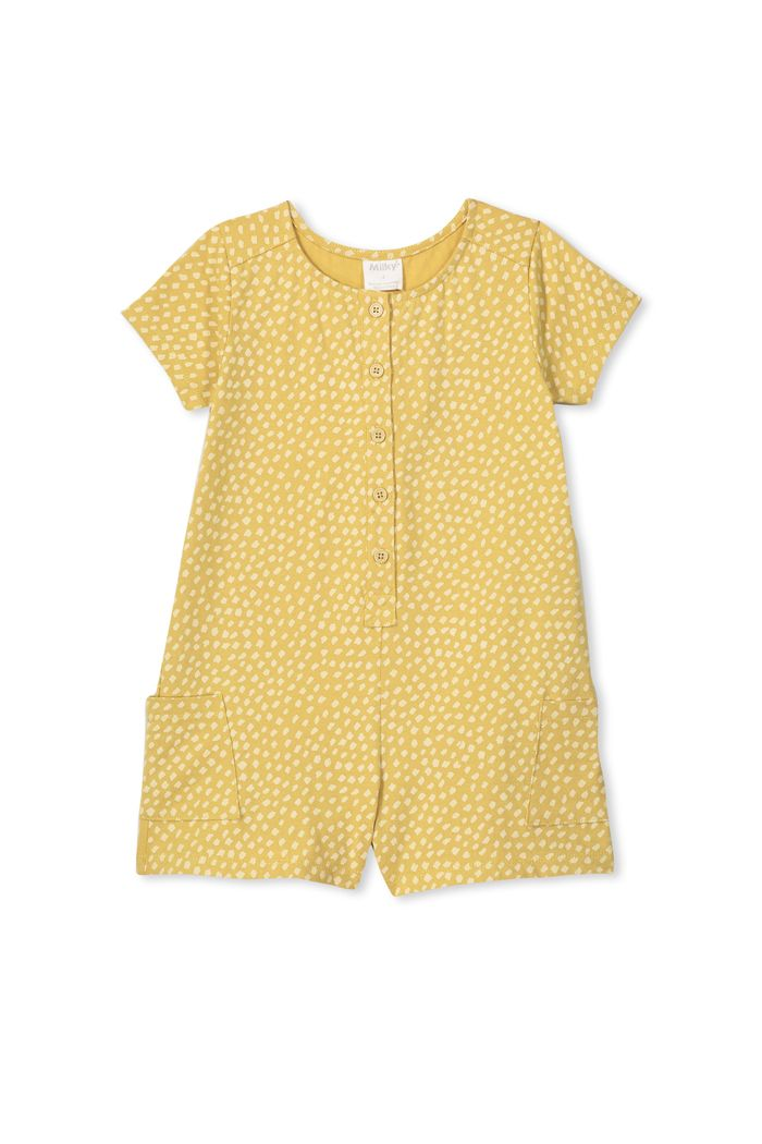 Milky Clothing Spot Playsuit in mustard