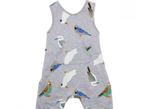 Bebe Native Print Overalls in bird print