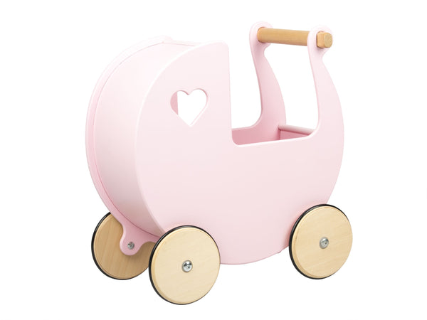 Pre Order Now Moover Dolls Pram Pink with Natural Wheels