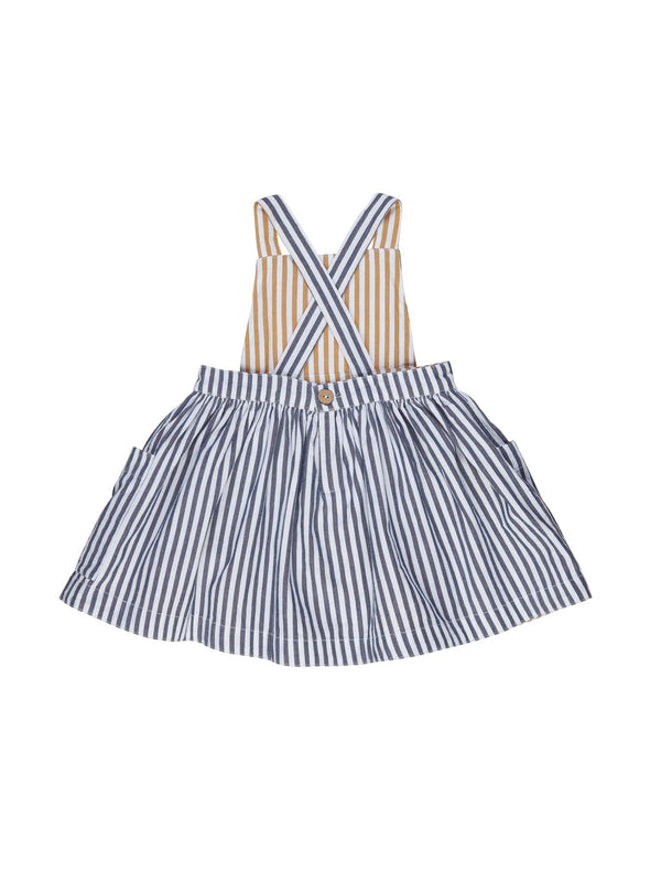 Huxbaby Stripe reversible Pinefore in Navy
