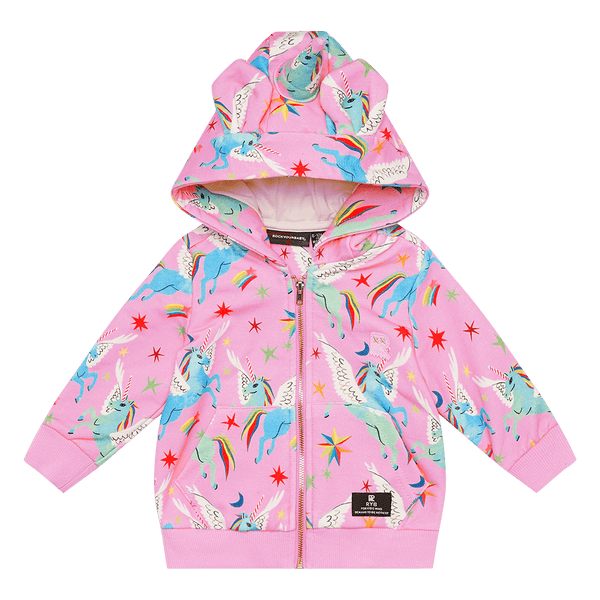Rock Your Baby Rainbow Pegasus baby hoodie in multi colour