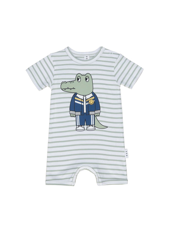 Huxbaby Croc-o-gator Short Romper in white stripe