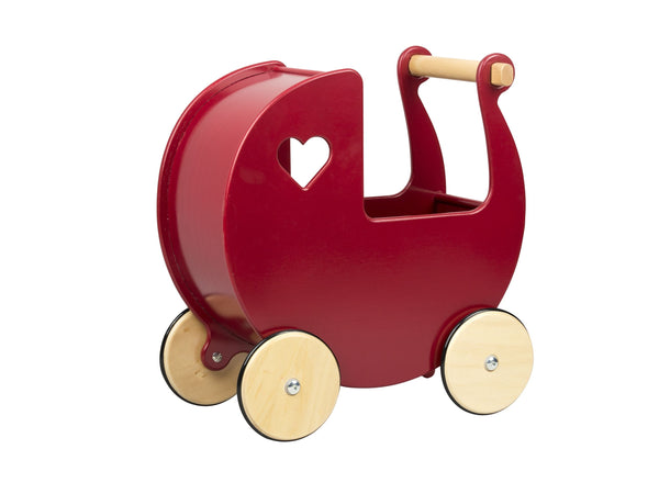 Moover Dolls Pram  Red with Natural Wheels