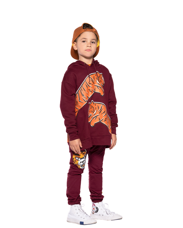 Band of Boys jumper Leaping tiger A Line hood Maroon in red