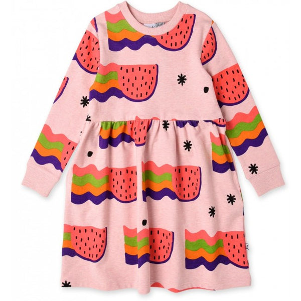 minti watermelon rainbows long sleeve girls winter dress showing the vibrant pink colours MNT753-W20-WR-PM