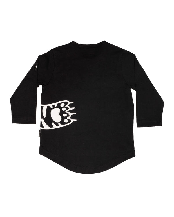 back view of the AW20-BTEE-02 band of boys organic baby paws long sleeve t-shirt in black organic cotton