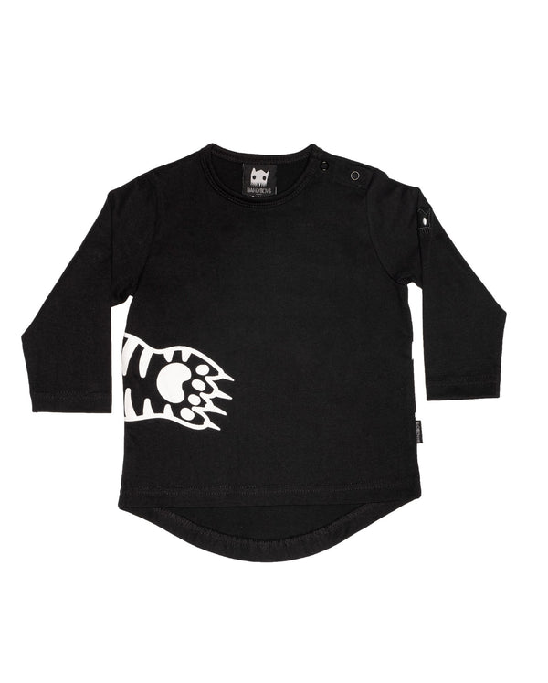 a flat view of the AW20-BTEE-02 band of boys organic baby paws long sleeve t-shirt in black organic cotton