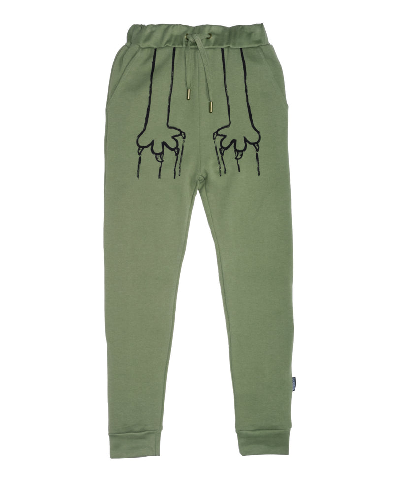 AW20-PANT-03 Band Of Boys Scratch That Trackies Skinny in Green Front Design