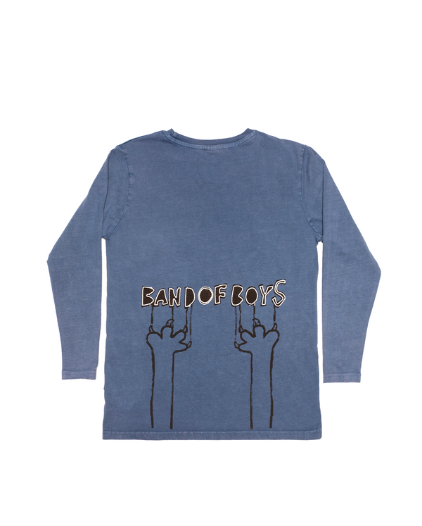 AW20-TEE-04 Band Of Boys Band Of Claws Oversize LS Tee in Vintage Blue Back Design