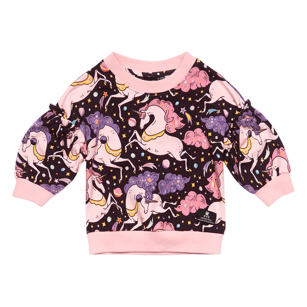 a front view of the Rock Your Baby Cosmic Unicorn Baby Sweatshirt Jumper