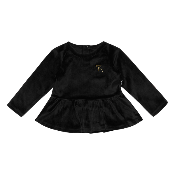Rock Your Baby long sleeve baby t-shirt in black velvet front view