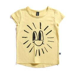 Minti Happy Sun short sleeve t-shirt in yellow laying on a flat background