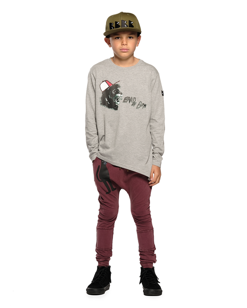 A Boy Wearing Band of Boys shouting lion asymmetric ls tee in marle grey front design