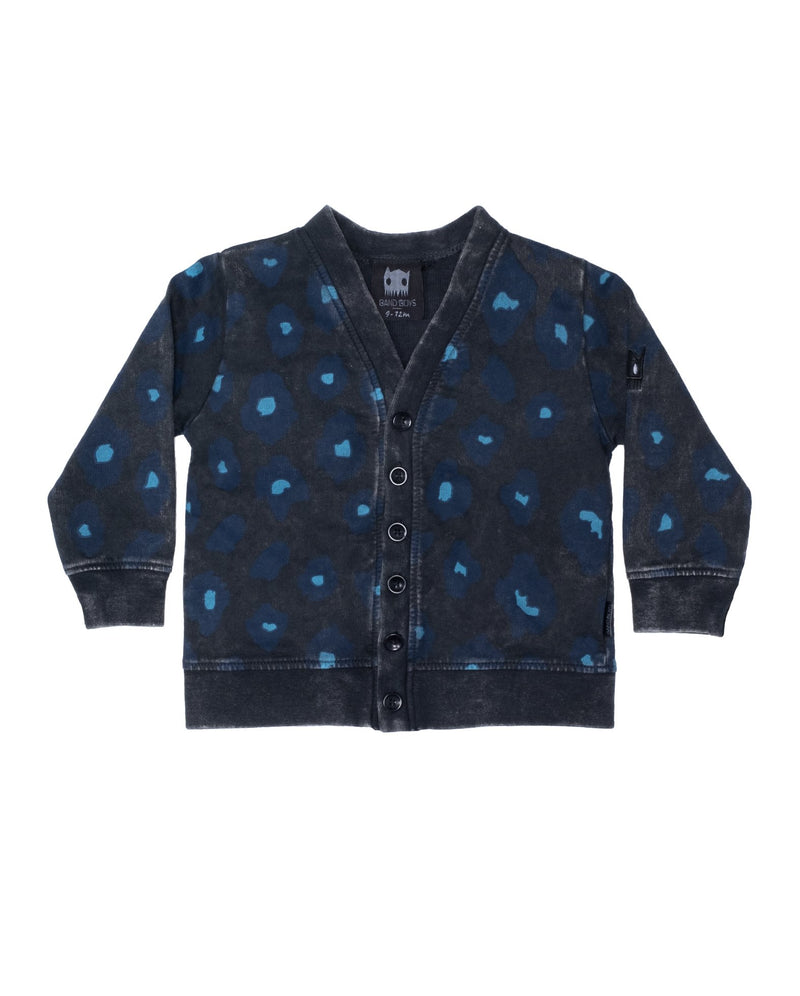 band of boys organic cotton baby leopard print cardigan AW20-BCARD-02