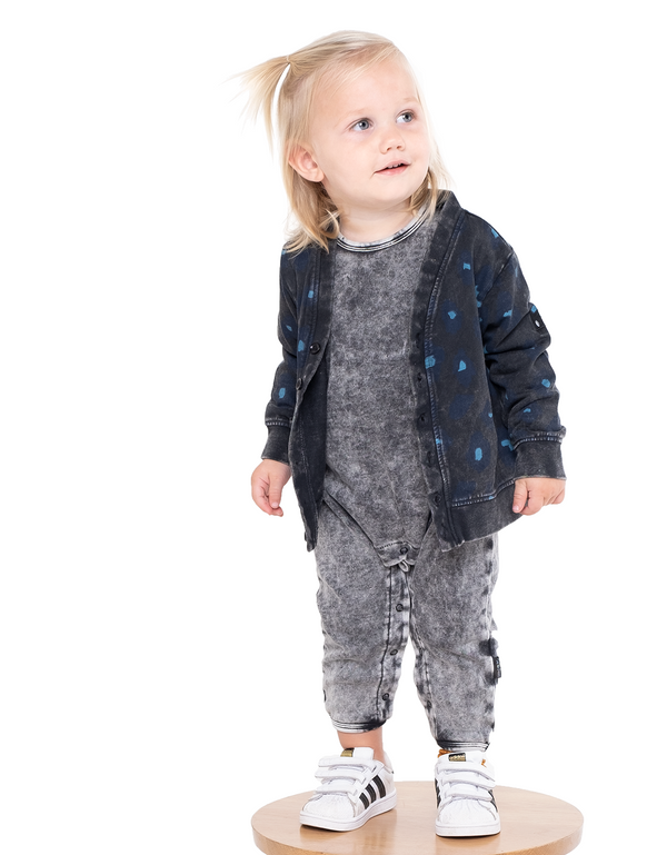 Band of boys organic cotton baby leopard print cardigan layered over the  Baby Paws Romper