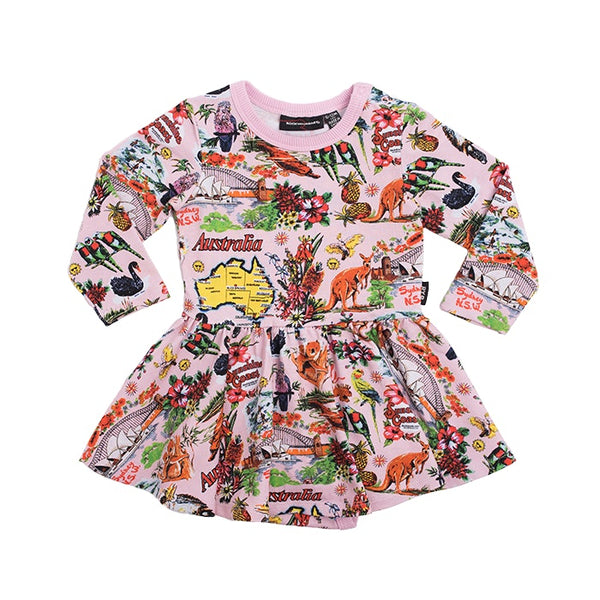 souvenir-tea-towel----long-sleeve-waisted-dress-in-multi colour print