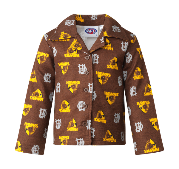 Hawthorn Hawks Official AFL  Flannelette Youths  Winter Pyjamas Flannelette