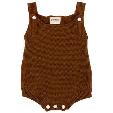 Ponchik Knitted Romper Brown