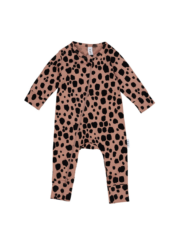 Huxbaby Ocelot Zip Romper Terrecotta in brown