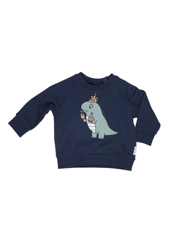 Huxbaby Dino sweatshirt midnight in blue