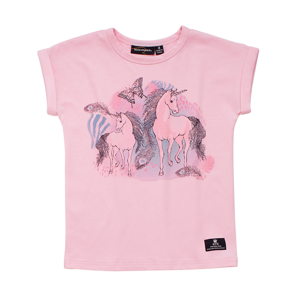 Rock Your Baby Magic Unicorns Drop Shoulder T-Shirt in pink