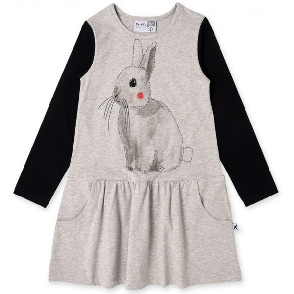 Minti long sleeve watercolor bunny girls dress in black and grey marle