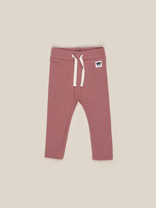 Huxbaby Rib leggings plum in pink