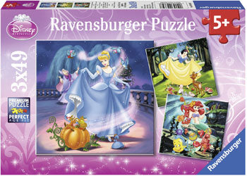 Ravensburger Puzzles - Disney Snow White Cinderella Ariel 3x49 pieces 5+