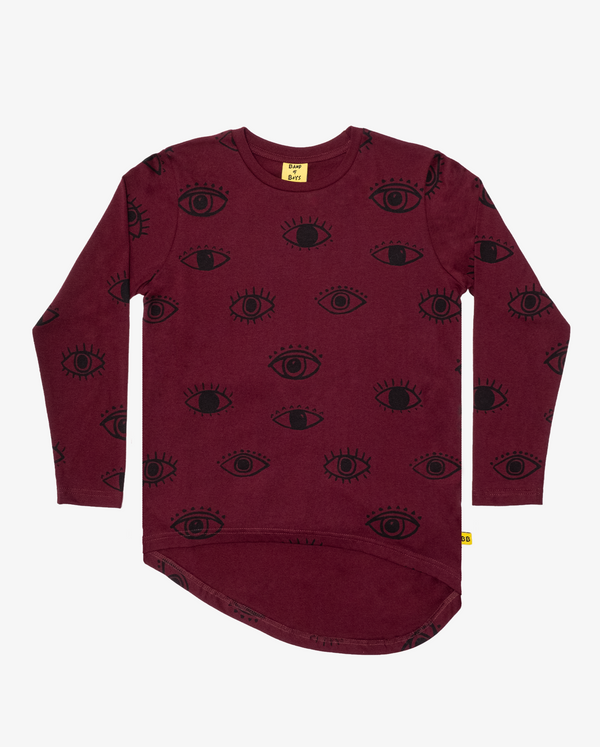 Band of Boys LS T-Shirt Wise Eyes Repeat in maroon