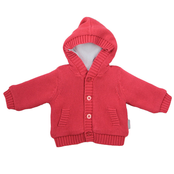 Beanstork Hooded Cardigan strawberry in red