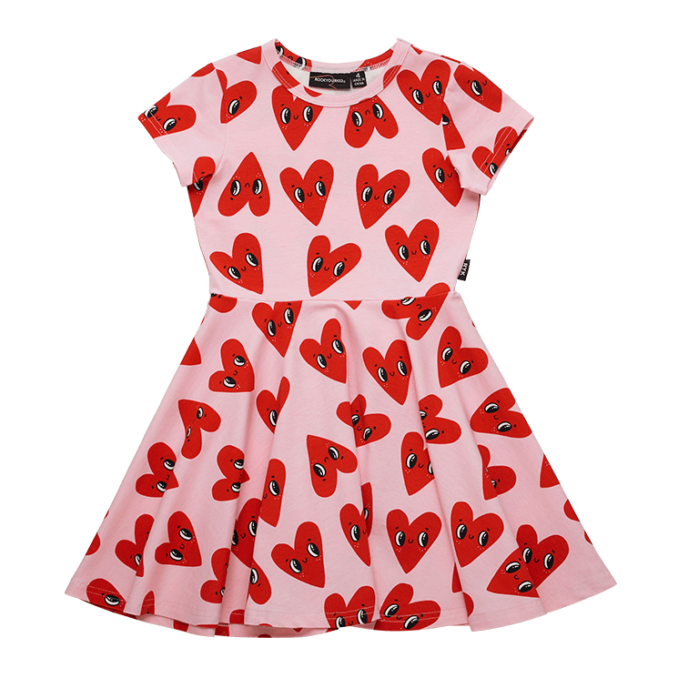Rock Your Baby More Love SS Waisted Dress in pink