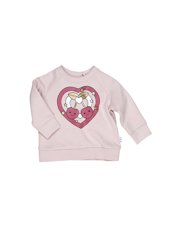Huxbaby Cherry Heart Sweatshirt Rose in pink