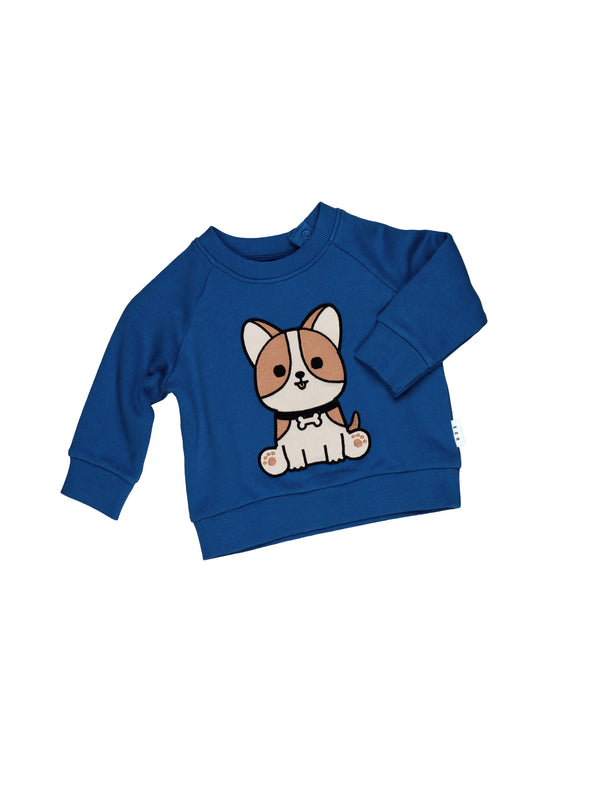 Huxbaby corgi sweatshirt whirlpool in blue