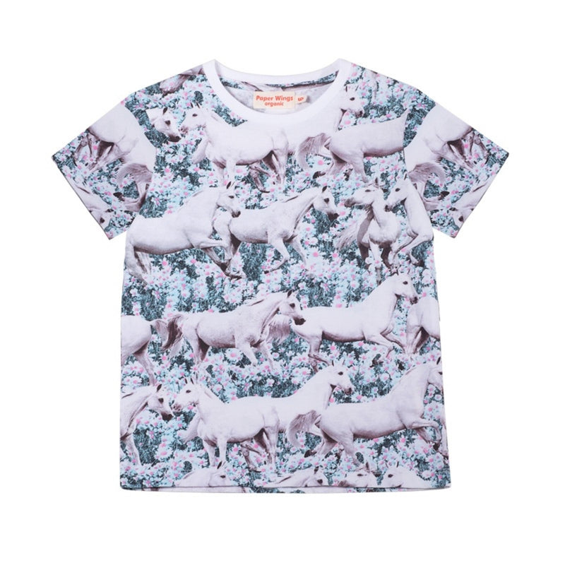 Paper Wings Classic Short Sleeve T-Shirt Dream Field in multi coloured print