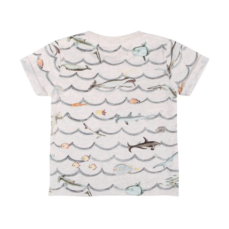 Paper Wings Cuff T-Shirt Animal Waves