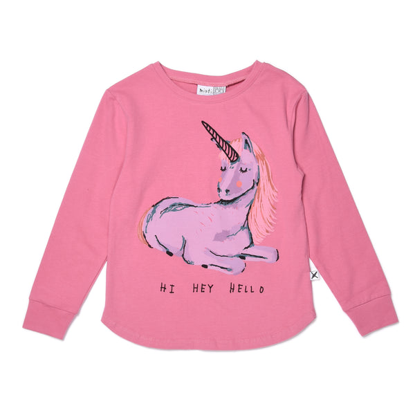 Minti Hi Goodbye Unicorn T-Shirt sorbet in pink
