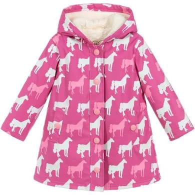 Hatley Horse Silhouettes Sherpa Lined Raincoat in Pink