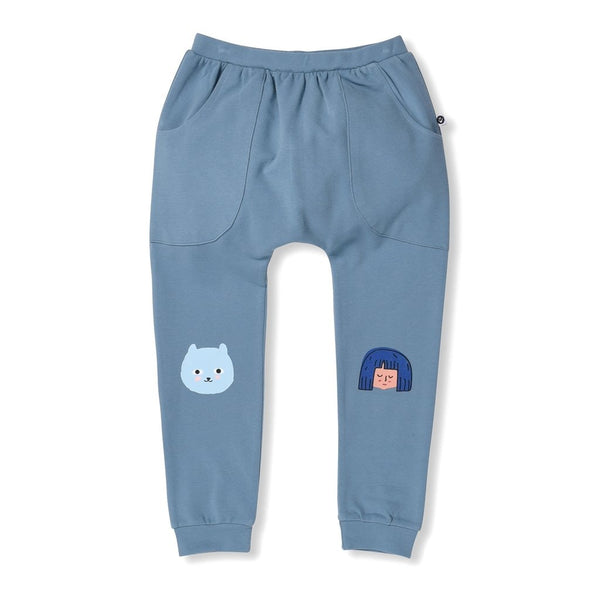 littlehorn-happy-bear-sweatpants---teal-in-blue