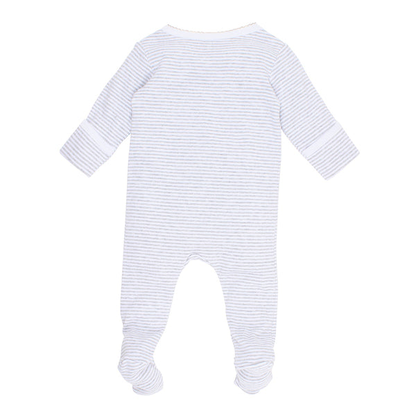 Aust Koala  Grey Stripe Zip Romper in grey