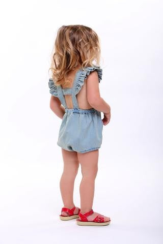 Rock your baby Kitten Ruffle Romper in denim